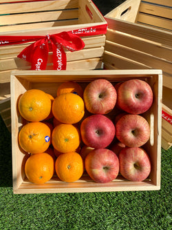 Wooden Crate with Oranges and Fuji Apples