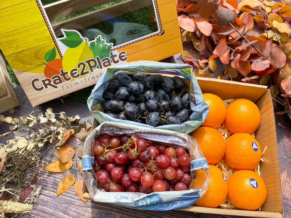 Gift Box Australian Navel Oranges, Red Seedless Grapes, and Black Seedless Grapes