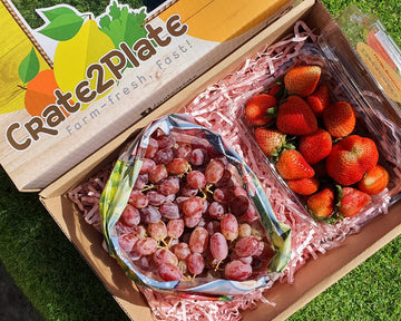 Gift Box Strawberries and Red Grapes