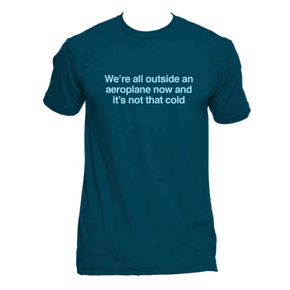 """We're All Outside An Aeroplane Now And It's Not That Cold"" T-Shirt"