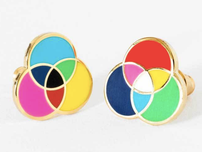 RGB/CMYK Earrings by Yellow Owl Workshop
