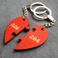 Amicable Numbers pair of keyrings