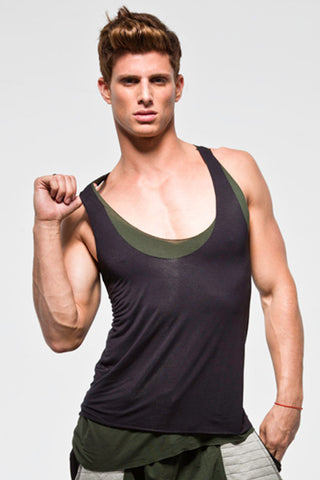 THE SWANK TANK | BLACK W/ ARMY GREEN