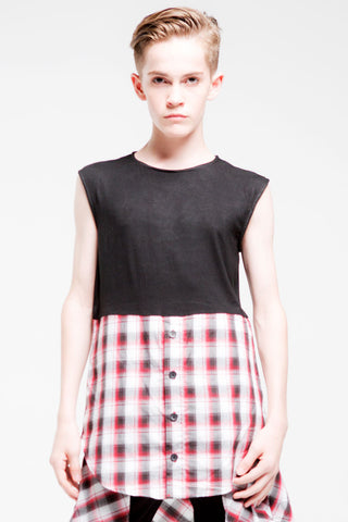 1/2 Button Sleeveless Top | Boys | Black