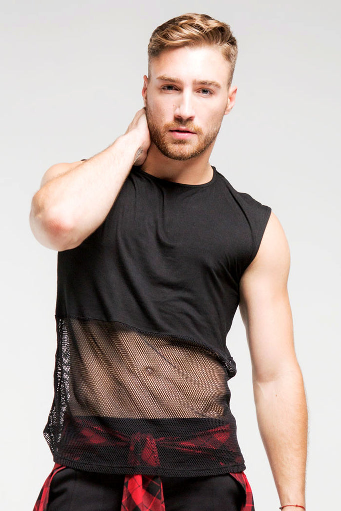 1/2 Mesh SleevelessTop | Men | Black