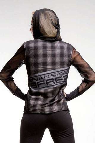 Mesh Hoodie | Women | Black White & Brown