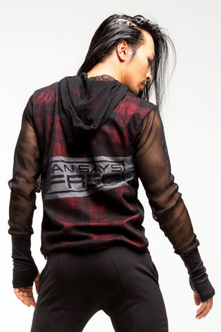 Mesh Hoodie | Men | Black & Red