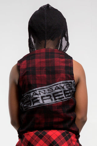 Mesh Sleeveless Hoodie | Boys | Black & Red