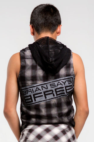 Mesh Sleeveless Hoodie | Boys | Black, White & Brown