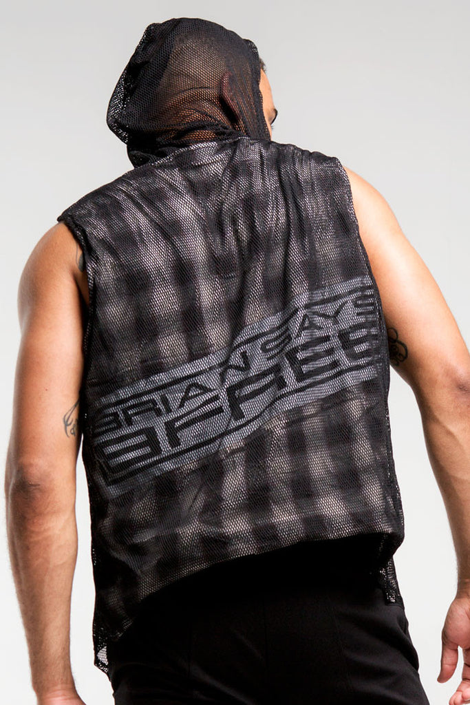 Mesh Sleeveless Hoodie | Men | Black, White & Brown