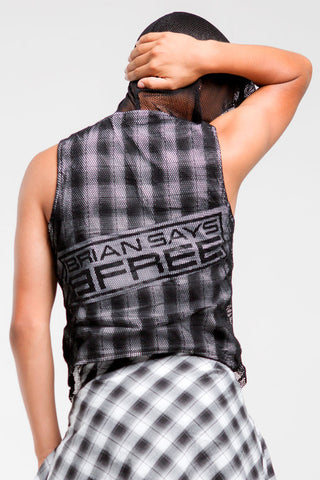 Mesh Sleeveless Hoodie | Boys | Black & White