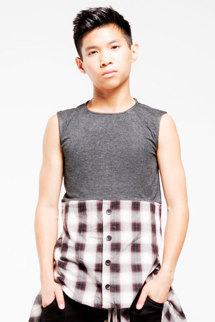 1/2 Button Sleeveless Top | Boys | Charcoal