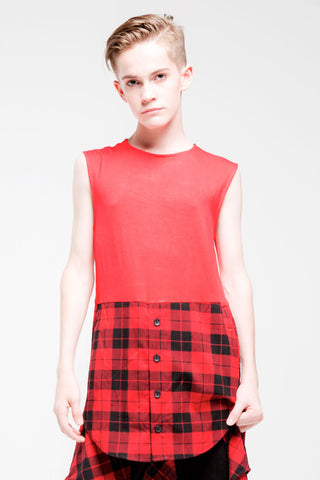 1/2 Button Sleeveless Top | Boys | Red