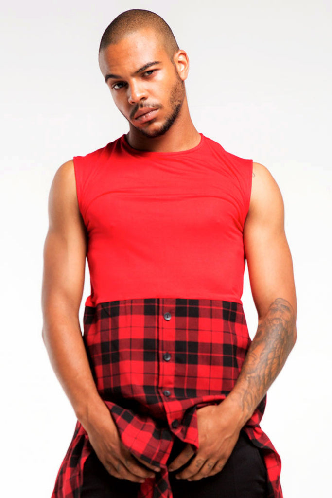 1/2 Button Sleeveless Top | Men | Red