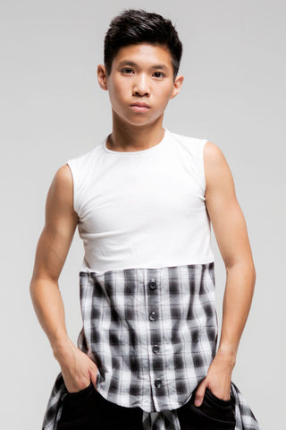 1/2 Button Sleeveless Top | Boys | White