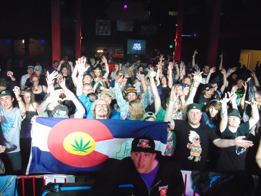The crowd reacts to Michal Menert on stage at Rawkus Nightlife Venue in Colorado Springs