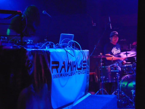 Michal Menert and his drummer on stage during CO WNTR 2015 TOUR at Rawkus in Colorado Springs