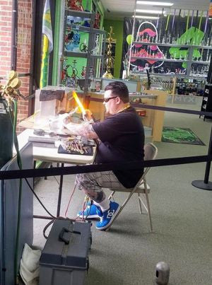 Glassphemous AKA Pedro Grimes glassblowing at Myxed Up Colorado Springs