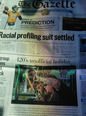 Colorado Springs Gazette with Pedro Grimes AKA Glassphemous on the cover