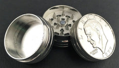3pc Metal Herb Grinder Liberty Silver Dollar Stack