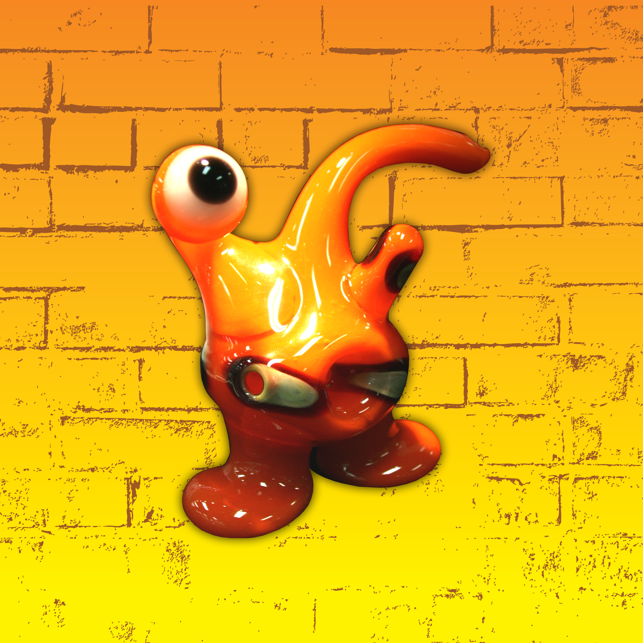 Orange Cyclopes Alien Down Neck Pipe