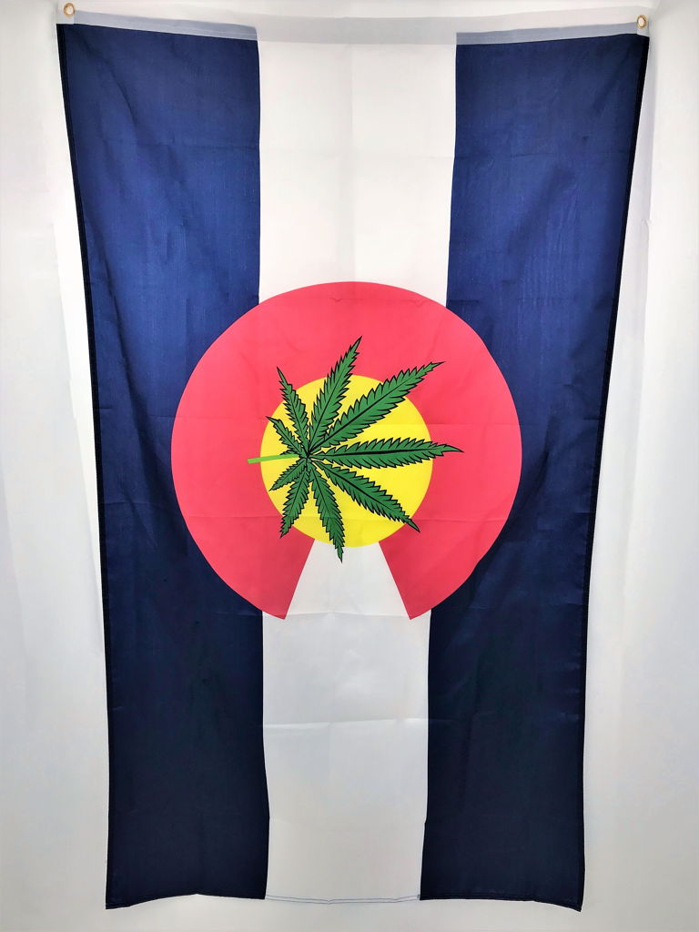 Colorado Flag With Cannabis Pot Leaf