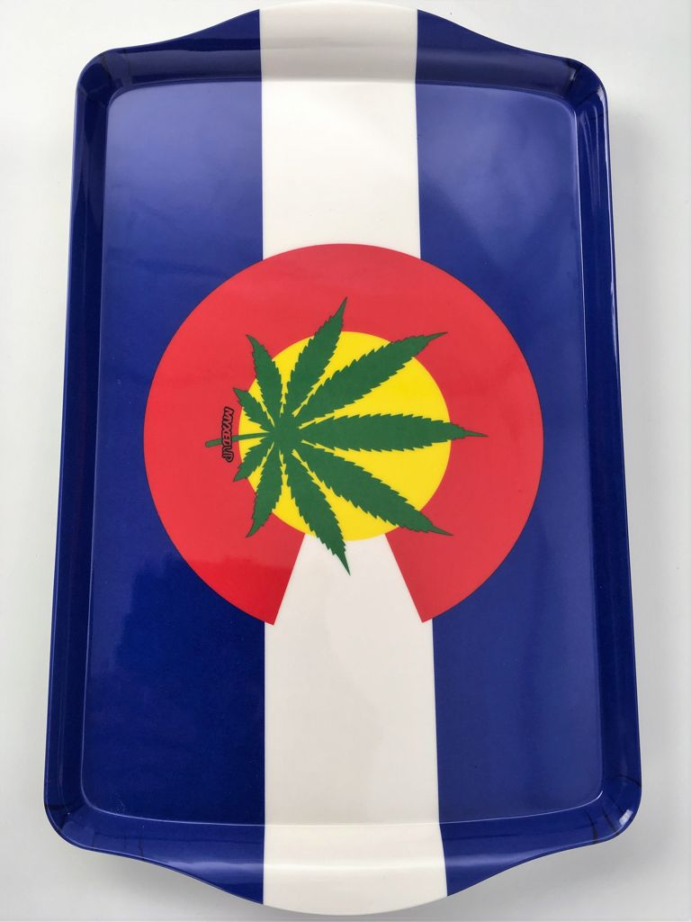 Colorado Weed Leaf Flag Myxed Up Rolling Tray Large