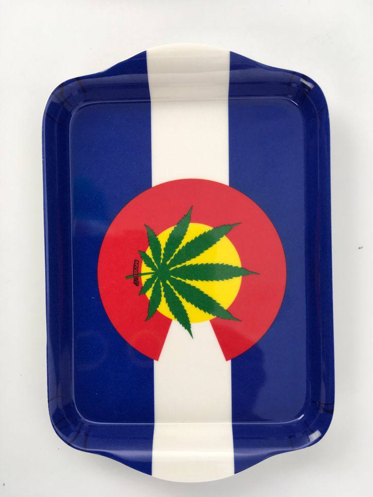 Colorado Weed Leaf Flag Myxed Up Rolling Tray Small