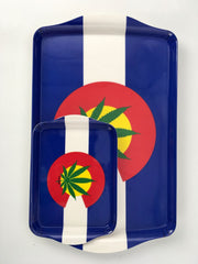 Colorado Weed Leaf Flag Myxed Up Rolling Tray