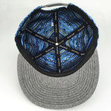 Grassroots Custom Snap Back Hats Removable Bear Blue Aztec Inside