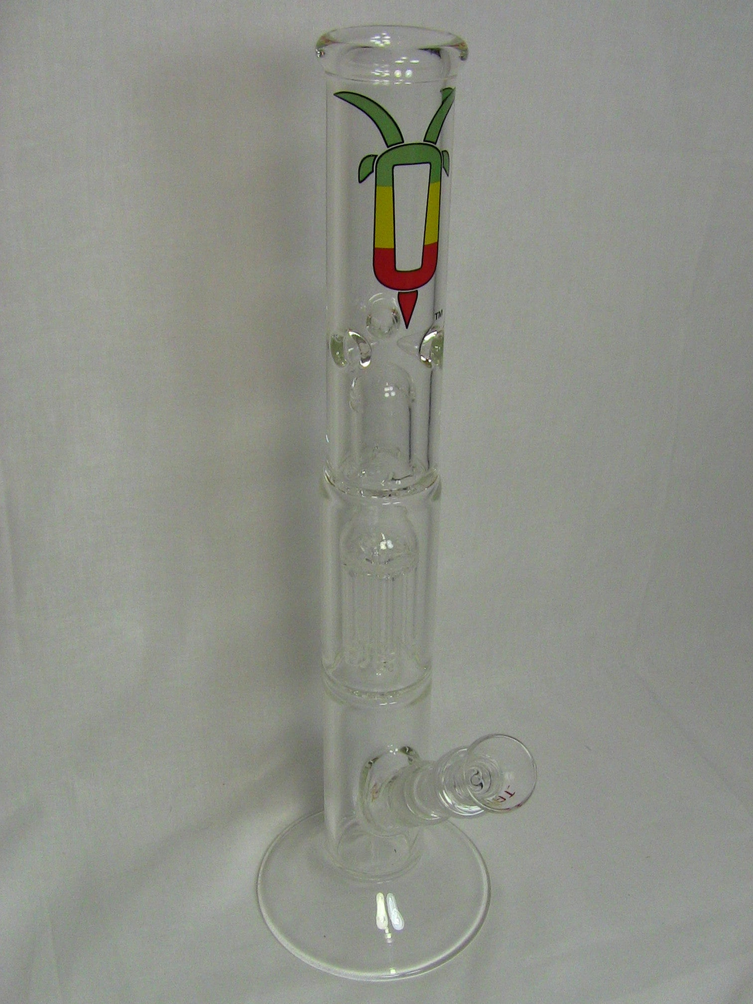 "GOAT Glass 16"" Straight Tube Double Perc Glass Waterpipe"