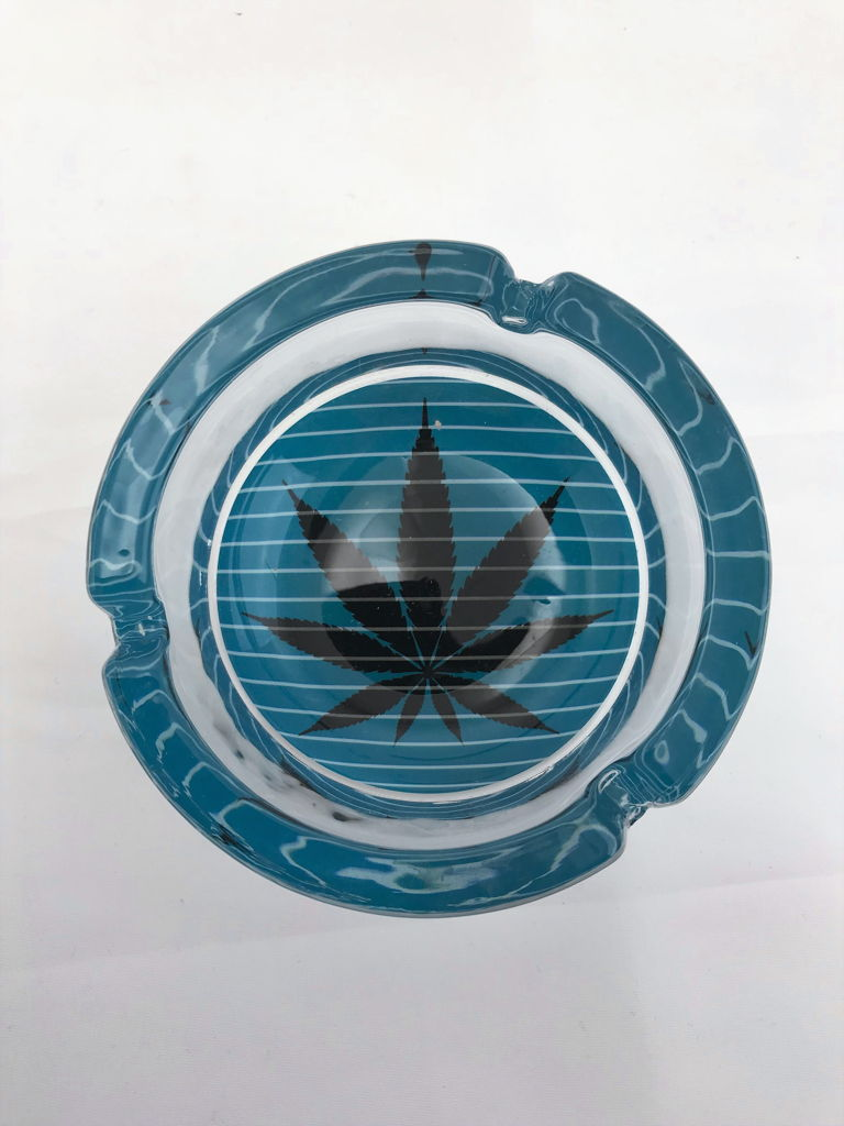 Large Assorted Glass Ashtray Blue Stripe