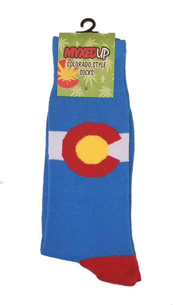 Myxed Up Colorado Style Socks Colorado Flag Blue