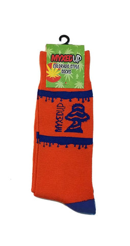 Myxed Up Colorado Style Socks Denver Blue And Orange