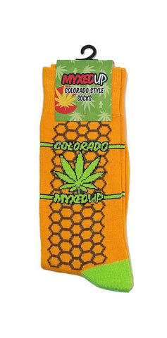 Myxed Up Colorado Style Socks Honeycomb Pot Leaf
