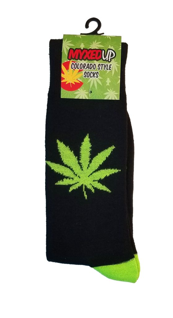 Myxed Up Colorado Style Socks Pot Leaf Black
