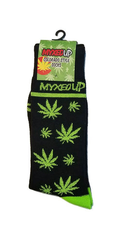 Myxed Up Colorado Style Socks Pot Leaf Staggered