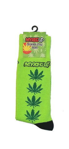 Myxed Up Colorado Style Socks Pot Leaf Stripe