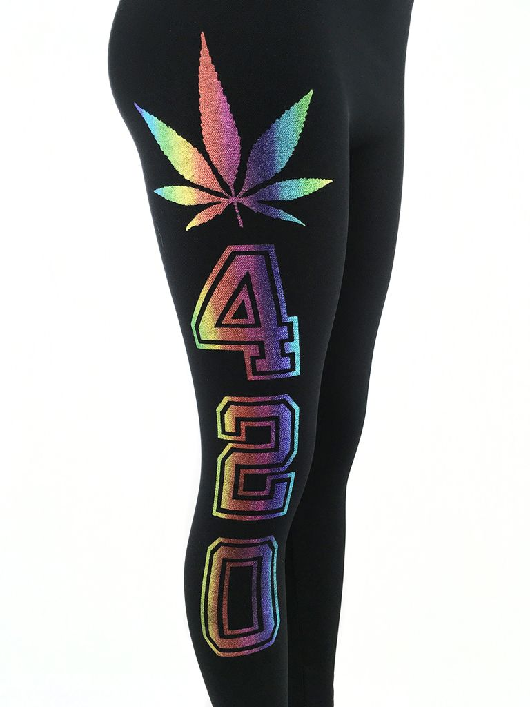 Pot Leaf 420 Leggings Rainbow Design