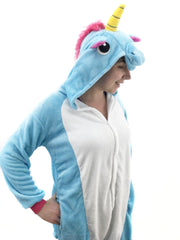 Unisex Adult Plush Blue Unicorn Animal Onesie Pajamas Rave Party Costumes