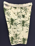 Weed Leaf Board Shorts Tan