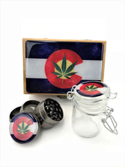 Wooden Box Grinder Jar Combo Kit Small Colorado Pot Leaf