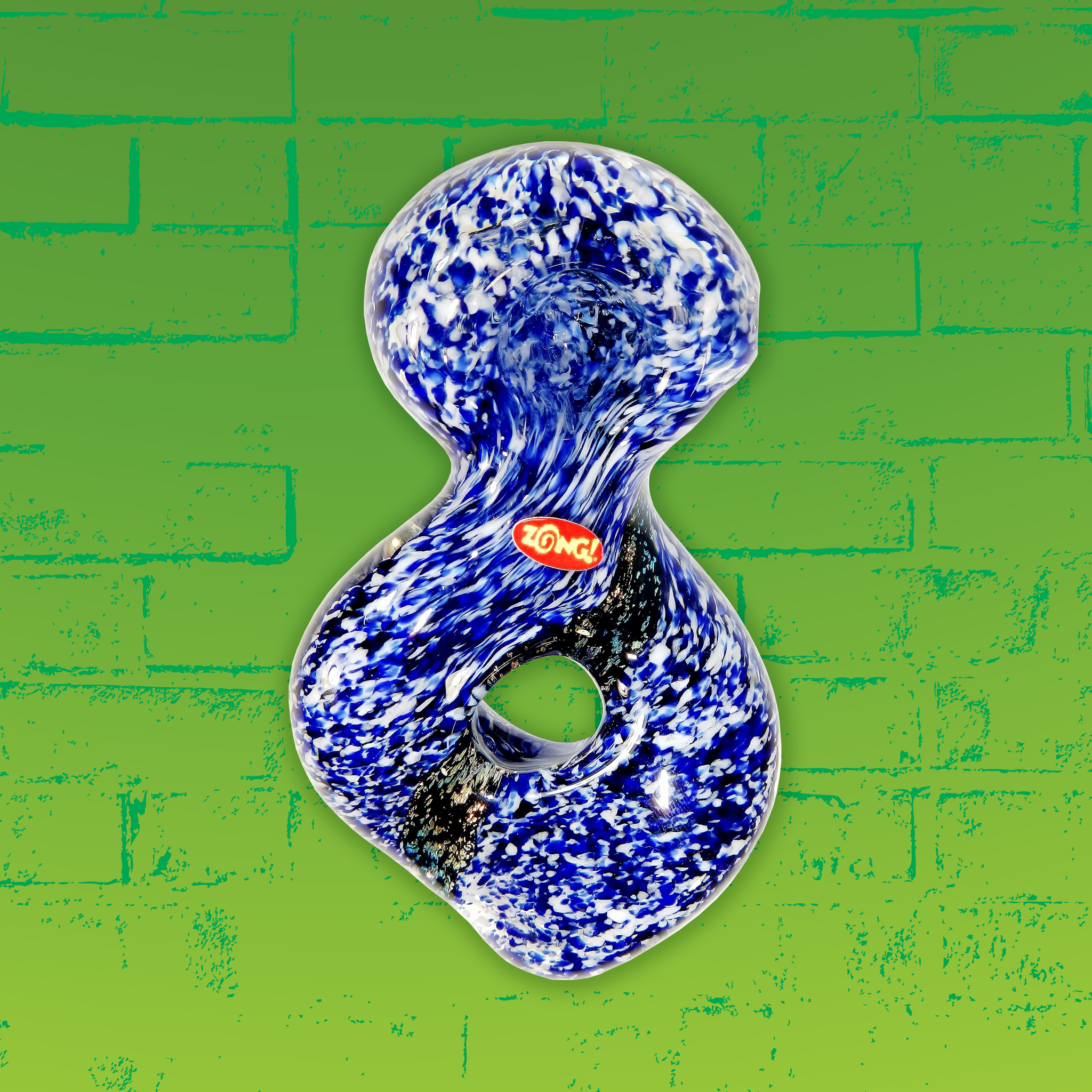 Zong Navy Blue & White Donut Style Spoon with Dicro Swirl