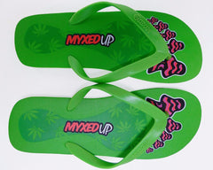 Myxed Up flip-flop sandals with pot leaf mushroom design