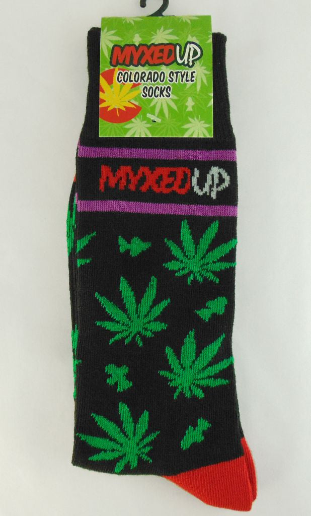 Myxed Up Colorado Style Socks Pot Leaf Shroom Staggered