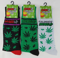 Myxed Up Colorado Style Socks with pot leaf mushroom staggered design