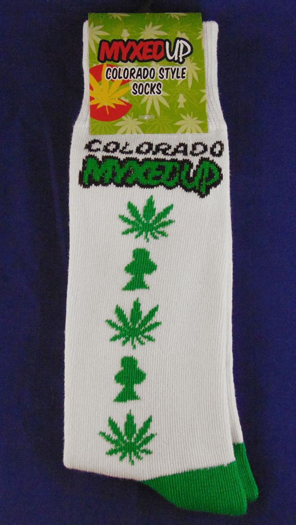 Myxed Up Colorado Style Socks with pot leaf and Myxed Up Mushroom