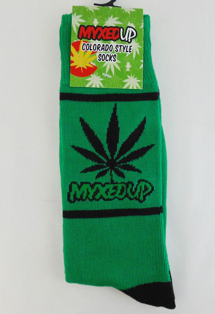 Myxed Up Colorado Style Socks with pot leaf and Myxed Up Creations Logo