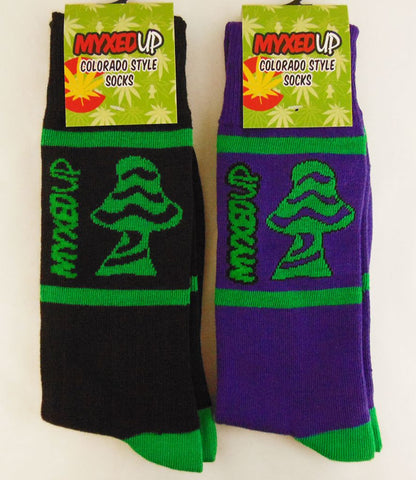 Myxed Up Colorado Style Socks Shroom Logo