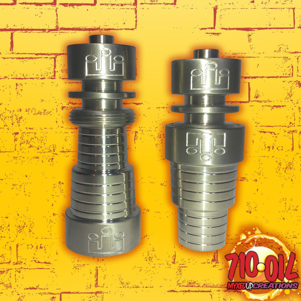 2 Silika Rook Domeless Titanium Nails shown in male and female fitting configuration